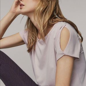 MASSIMO DUTTI Contrast T-shirt with slit detail